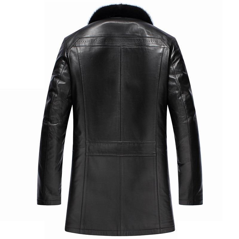 Genuine Leather Men Winter Jacket Real Sheepskin Coats Mens Wool Liner Mink Fur Collar Warm Down Coat F18S14080 YY324