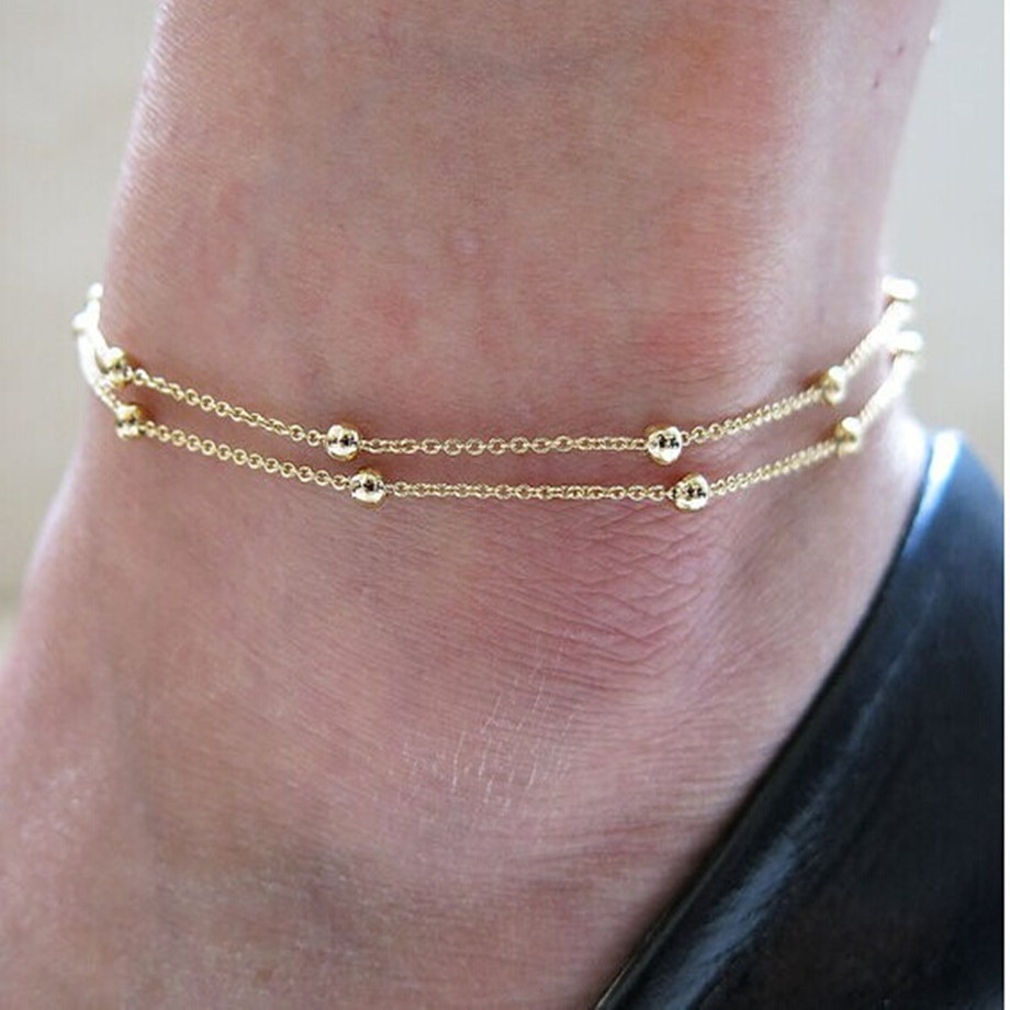 Anklet Bracelet On Leg Gold Color Heart Love Gift Summer Jewelry Wholesale Anklet Bracelet Foot Jewelry New Hot 2020 Punk