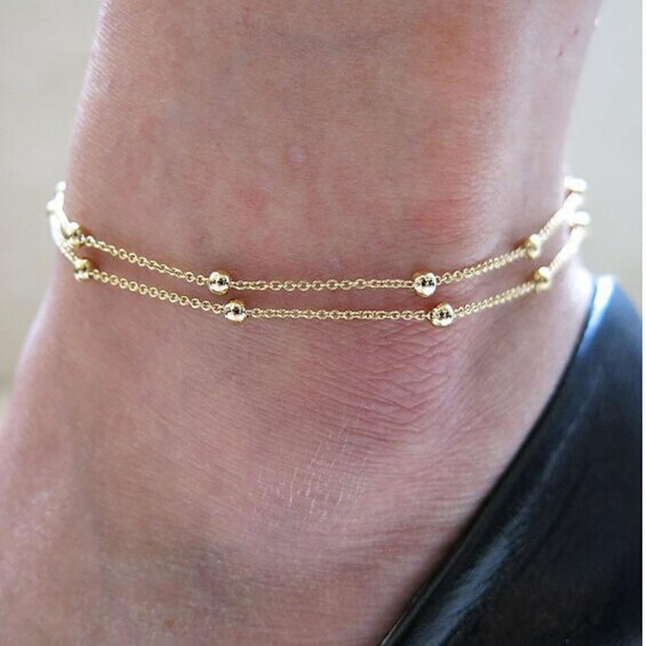 Anklet Bracelet On Leg Gold Color Heart Love Gift Summer Jewelry Wholesale Anklet Bracelet Foot Jewelry New Hot 2020 Punk