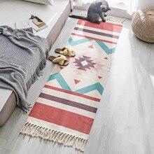 Хлопковое белье в скандинавском стиле ручной тканые коврики татами современный ковер 60x150 см Гостиная Коврик для спальни Vloerkleed