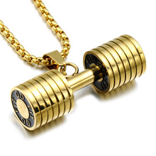 Gold / silver fashion mini fitness dumbbell necklace jewelry stainless steel charm pendant men's boy gift necklace the hottest happiness can be found pendant necklace dumbledore quote j k rowling porter charm gift jewelry pendant xkhlhj