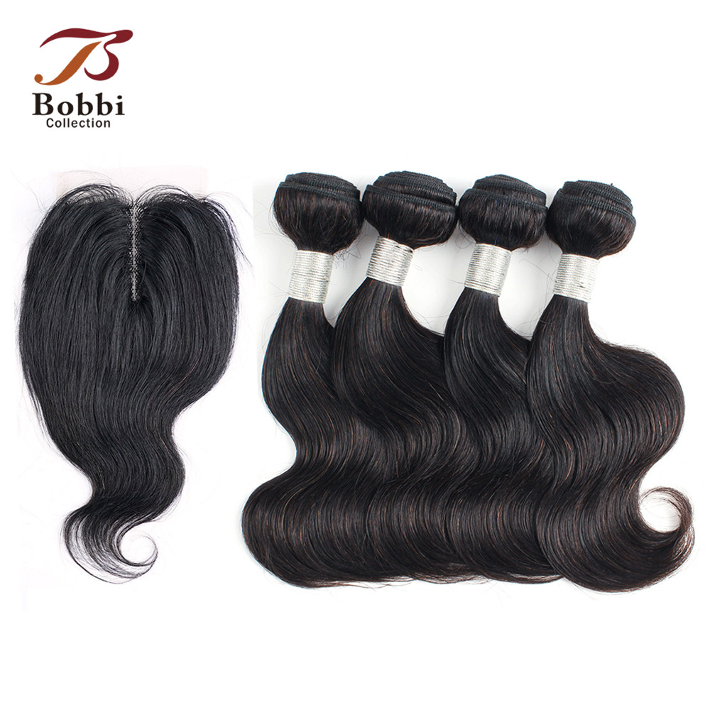 50g/pc 4/6 Bundles with Lace Closure Middle Part Body Wave Remy Dark Brown Human Hair Short Wavy Style BOBBI COLLECTION