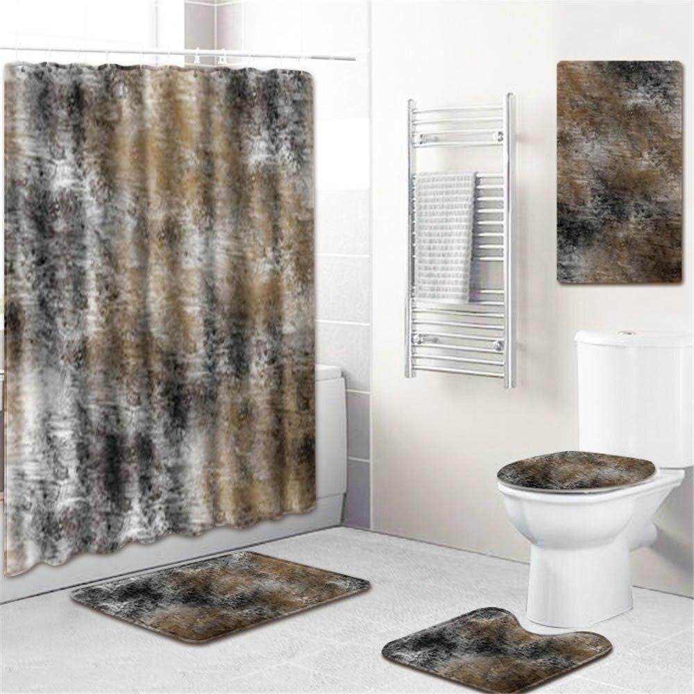 5 шт./компл. 3d Шторки для душа с принтом водонепроницаемая ткань для ванной ПВХ нескользящий коврик для ванной коврик коврики для туалета чех... - 6