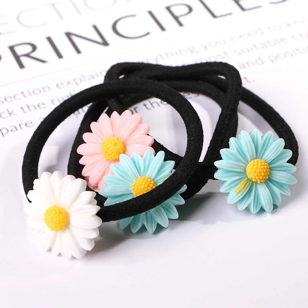 2x Women Daisy Flower Ponytail Holder Hairband Elastic Rope Ring Rubber Hairband