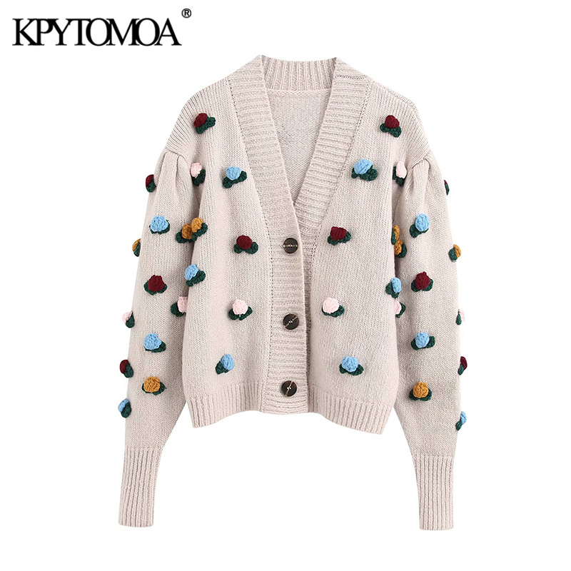 KPYTOMOA Women 2020 Fashion Floral Crochet Appliques Knitted Cardigan Sweater Vintage Long Sleeve Female Outerwear Chic Tops