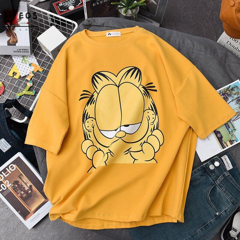 Summer Women T-shirts Garfield Cartoon Cat Print Short Sleeve For Girls Tops Casual Loose Cute Streetwear Harajuku Female Tees