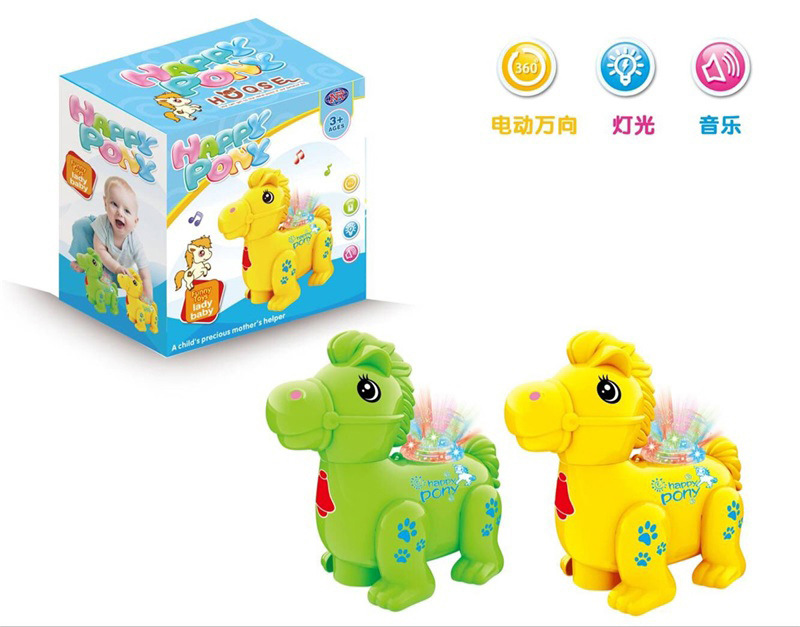 Children Electric Universal Wheel Light Pony Cartoon Flash Animal Colorful Light Toy Mini Pet Horse