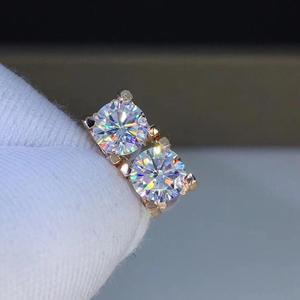 Image 2 - Poezja sklepu z żydami serce Moissanite Cut Total 1.00ct diamentowy Test przeszedł Moissanite kolczyki w kolorze różowego złota biżuteria prezent dla dziewczyny