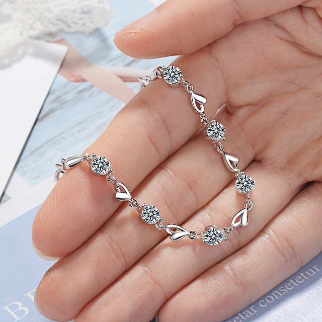 Delicate 925 Sterling Silver Zircon Love Heart Shaped Bracelets For Women Valentines Gift Wedding Jewelry 5