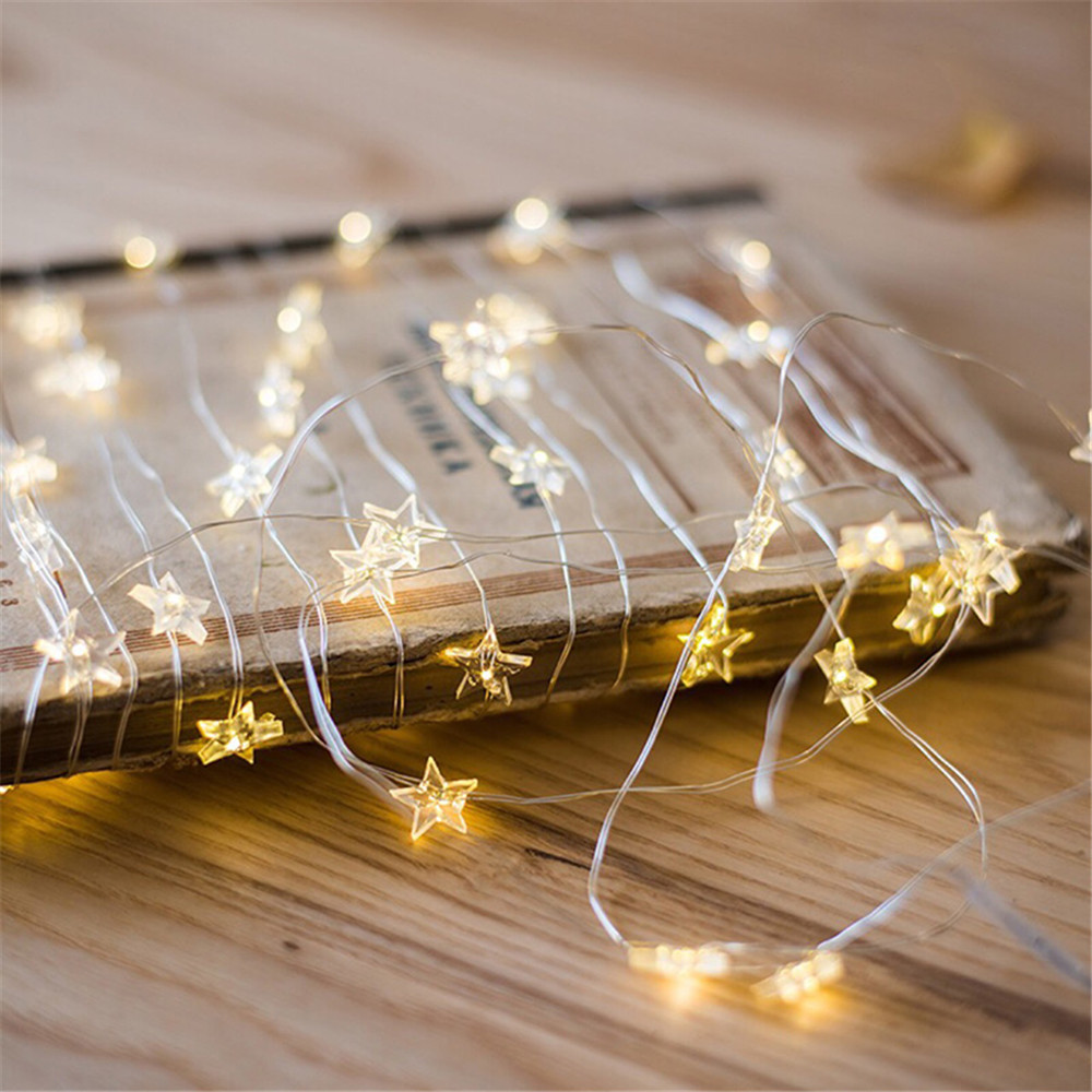 LED Copper Wire String Light Lovely Heart/Star/snowflake/Flamingo Christmas Tree Decoration Garland For Wedding Valentine's Day