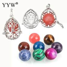 Vintage Chime Ball Locket Pendant Hollow Out Openable Flower Cage Gem Stone Locket Pendant Diy Necklace Ball Pregnant Women(China)