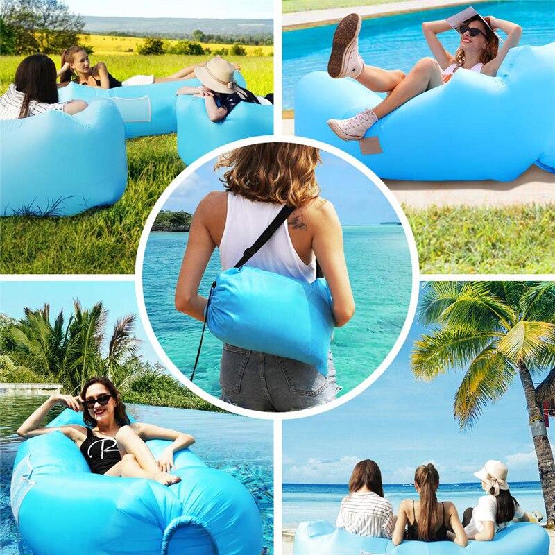 Ultra-léger gonflable chaise longue étanche Air canapé nager Camping randonnée Air matelas plage chaise longue eau canapé poser sac 2019