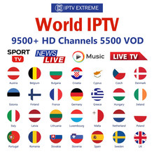 World PRO HD iptv subscription android tv box 10000+ live m3u 6000 vod europe arabic spain german dutch sweden israel usa iptv(China)
