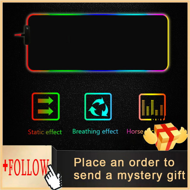 RGB Gaming Mouse Pad Large Mouse Pad Gamer Led Computer Mousepad Big Mouse Mat with Backlight Carpet for Keyboard Desk Rubber