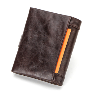 Image 2 - CONTACTS 100% Genuine Leather Wallet Men Bifold Wallets RFID Blocking Coin Purse Zipper Walet Card Holder Small Pocket Carteira