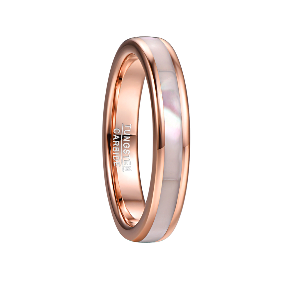 NUNCAD 4mm Tungsten Carbide Ring Women s Rose Gold Tungsten Steel Ring with Mother of Pearl Shell Comfort Fit Size 5-10