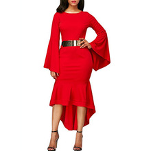 Fashion Women Elegant Dress Flare Sleeve Ladies New Autumn Long O-neck Clothes Robe Femme Solid Color
