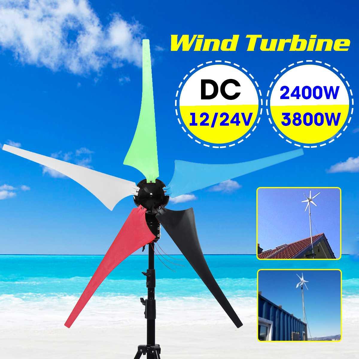 2400/3800W éolienne 12/24V ménage 5 lames éolienne générateur vent contrôleur gratuit cadeau Set accessoires de montage