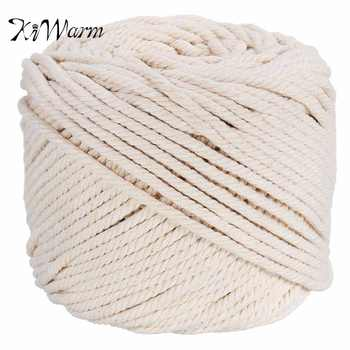 KiWarm Durable 4mmx100m Natural Beige White Macrame Cotton Twisted Cord Rope DIY Home Textile Accessories Craft