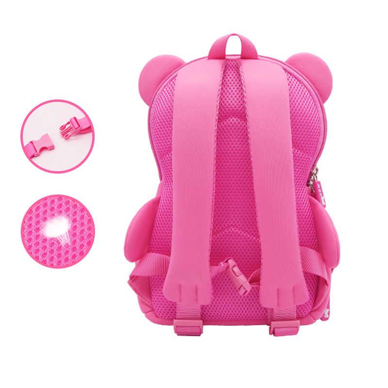 3D Cartoon różowy miś torby szkolne dla dziewczynek chłopcy śliczny motyw psa plecak szkolny maluch torba na książki przedszkole torba dla dzieci Mochila
