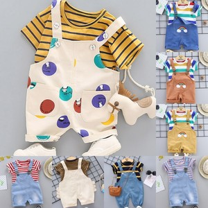 Baby Summer Dress Male 0-13 Years Old Baby Clothes Young Boy Westernized Belt Pants Children Handsome Two-piece Clothing