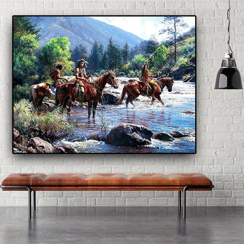 Нативный индийский пейзаж с лошадью, Абстрактная Картина на холсте, постеры и принты, Настенная картина Cuadros для гостиной, без рамки