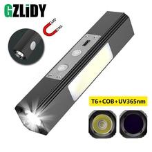 Linterna LED multifuncional T6, linterna UV de 365nm, súper brillante, impermeable, COB, lámpara de Camping, diseño magnético, linterna recargable por USB