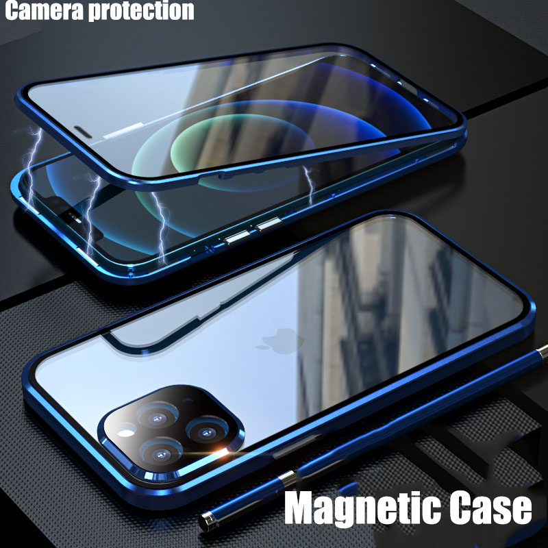 Magnetic Metal Camera protection For iPhone 12 Pro Max 12 Pro Mini Case Fundas coque Double-Sided Glass phone Cases cover luxury