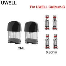 Original uwell caliburn g pod cartucho 2ml capacidade atomizador 0.8ohm cabeça da bobina para uwell caliburn g/koko vape pod prime kit
