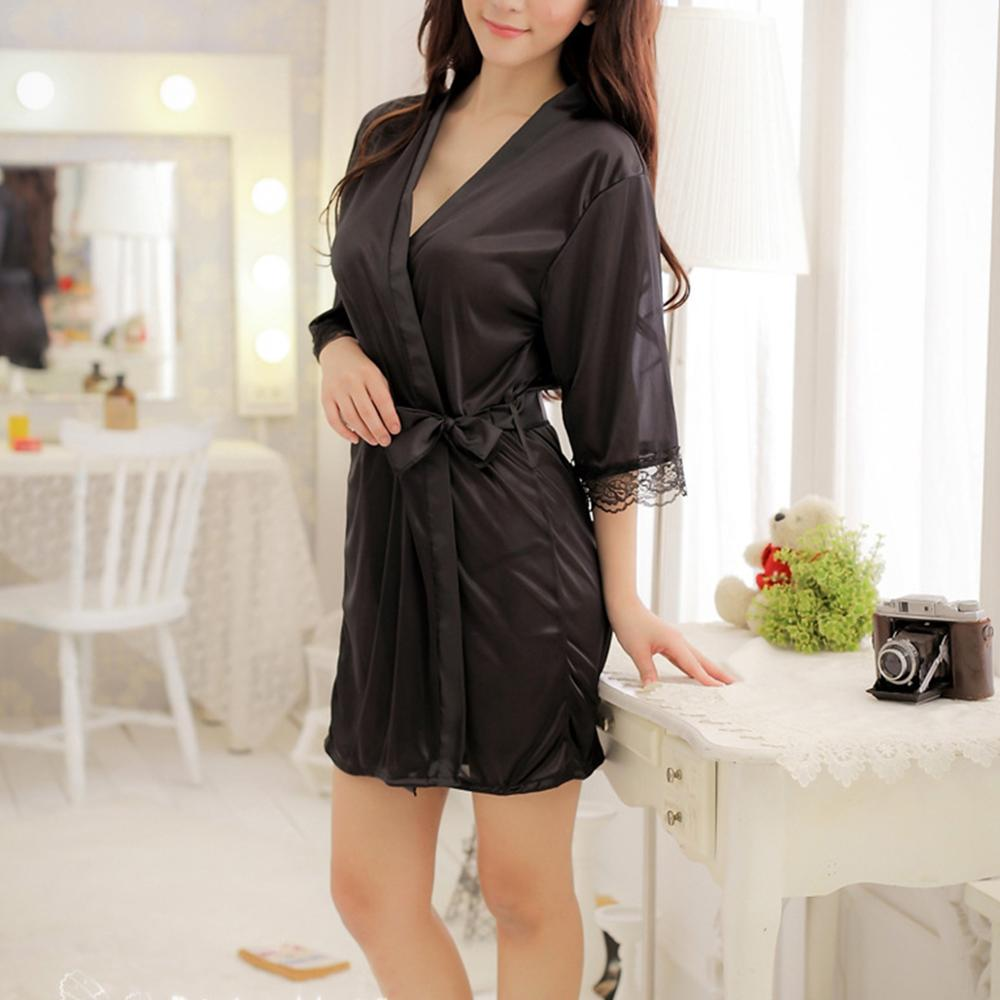 Hot Sexy Silk Satin Lace Dressing Gown Bath Robe Hot Fashion Nightwear Sleepwear Dress Lingerie Robe Pajamas For Women