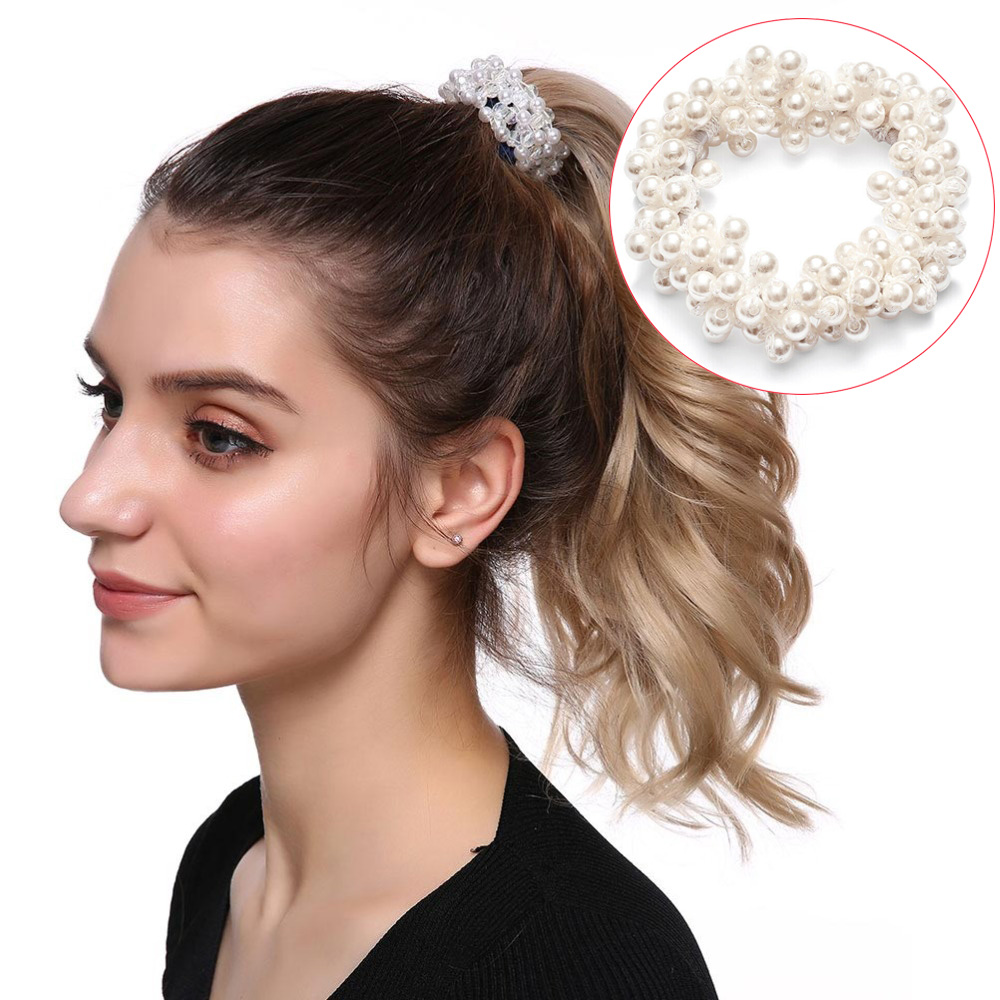 Crystal Pearl Hair Bands Rings Rubber Band Elastic Rope Hairbands Women Girls Scrunchie Ponytail Holder Accessories