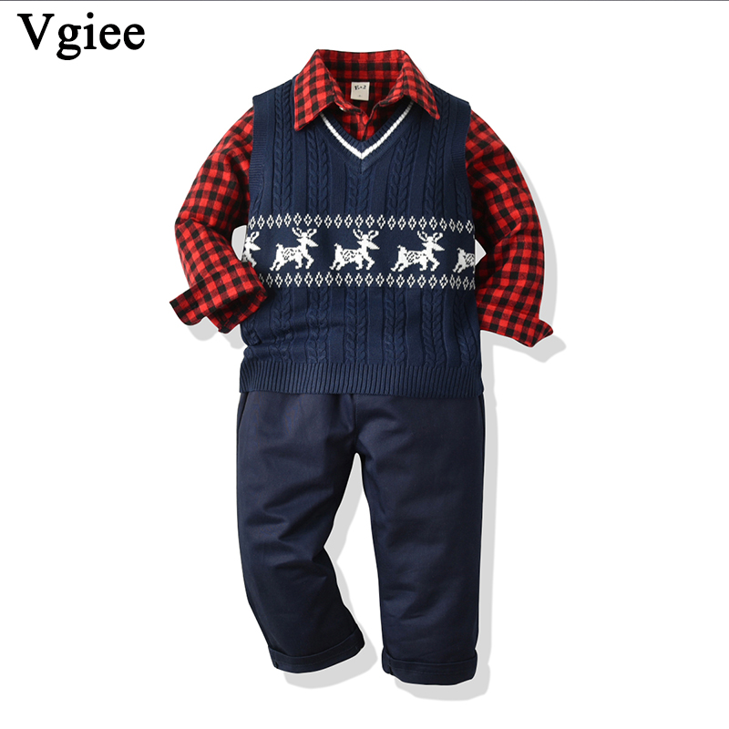 Vgiee Christmas Outfits Kids Boys Children Set for Birthday Party Boy Clothes Cotton Full Print A Little Boy Baby Clothing CC702
