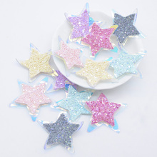 15Pcs Double Layer Leather PU Patches Glitter Star Appliques for DIY Clothes Shoes Hat Headwear Hair Clips Sticker Decor L30
