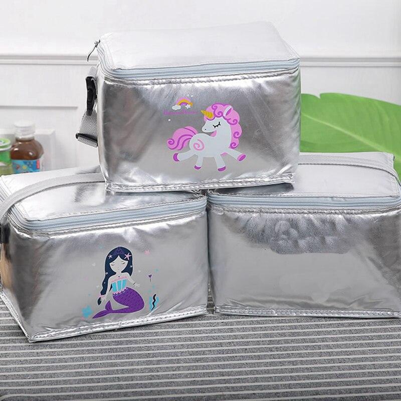 Bolsa de Piquenique ao ar Engrossar à Prova Moda Animal Unicórnio Almoço Livre Portátil Comida Térmica Dwaterproof Água Refrigerador Estudante Caixa Gelo Isolado Tote