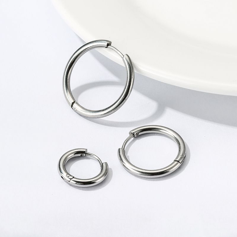 1 pair Women/Man Stainless Steel Small Hoops Earring Piercing Ear Cartilage Tragus Simple Thin Circle Anti-allergic Ear Buckle