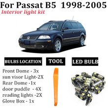 13x canbus carro led interior mapa dome luz pacote kit apto para vw passat b5 1998-2005 tronco espelho lâmpada acessórios do carro