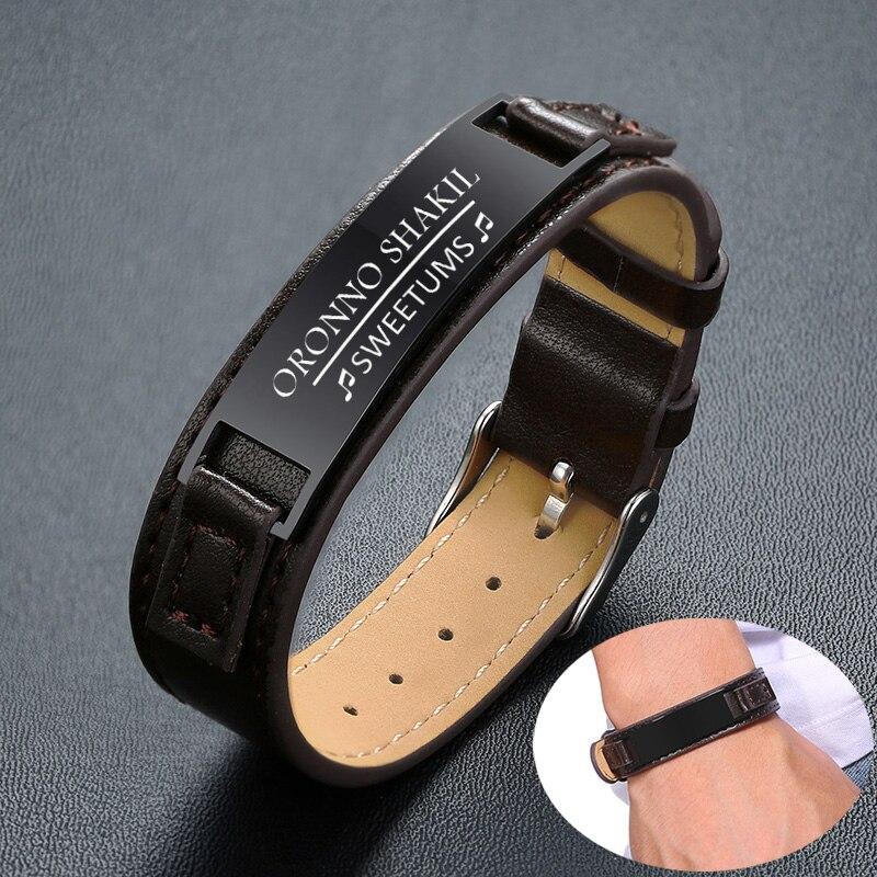 FREE Engraved Brown Leather Bracelet Mens Titanium Steel Luxury Wrap Men Bracelets Bangles New Adjustable Jewelry Pulsera Hombre