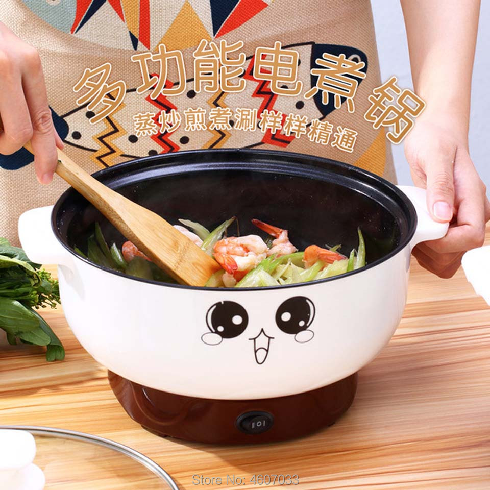 220V Multifunctional Electric Cooker Heating Pan Electric Cooking Pot Machine Hotpot Noodles Rice Eggs Soup Steamer Cooking Pot 1