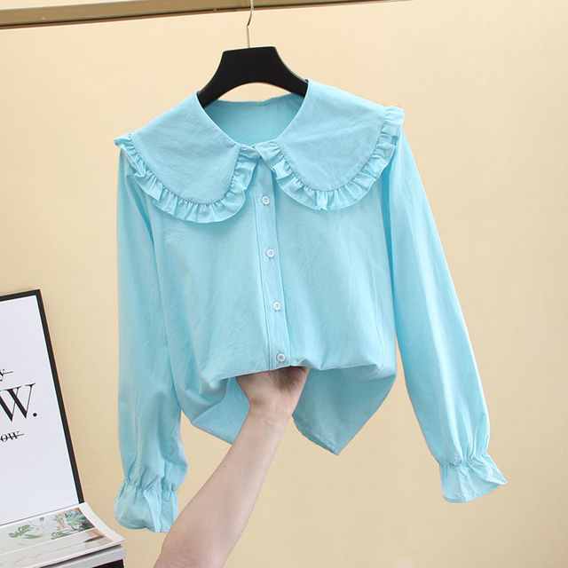 2020 New Butterfly Hollow Out Peter Pan Collar White Long Sleeve Shirt Blouse Sweet Chiffon Solid Korean Fashion Clothing K147 2