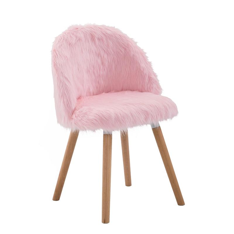 Nordic Creative Makeup Chair Girl Heart Desk  Bedroom Princess Pink Cute Stool Beauty Toilet  Fabric Leisure Chair