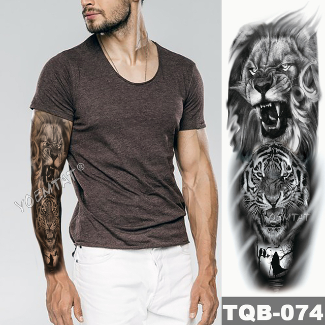 Arm Lasting Waterproof Temporary Tattoo Sticker Mechanical Clock Rose Skeleton Lion Tiger Body Art Female Stickers Anime Men|Temporary Tattoos|   -
