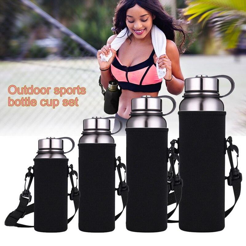 Sports Water Bottles Carrier Bag  InsulatWater Pouch Holder Shoulder Strap Black Bottle Carrier Insulat Bag