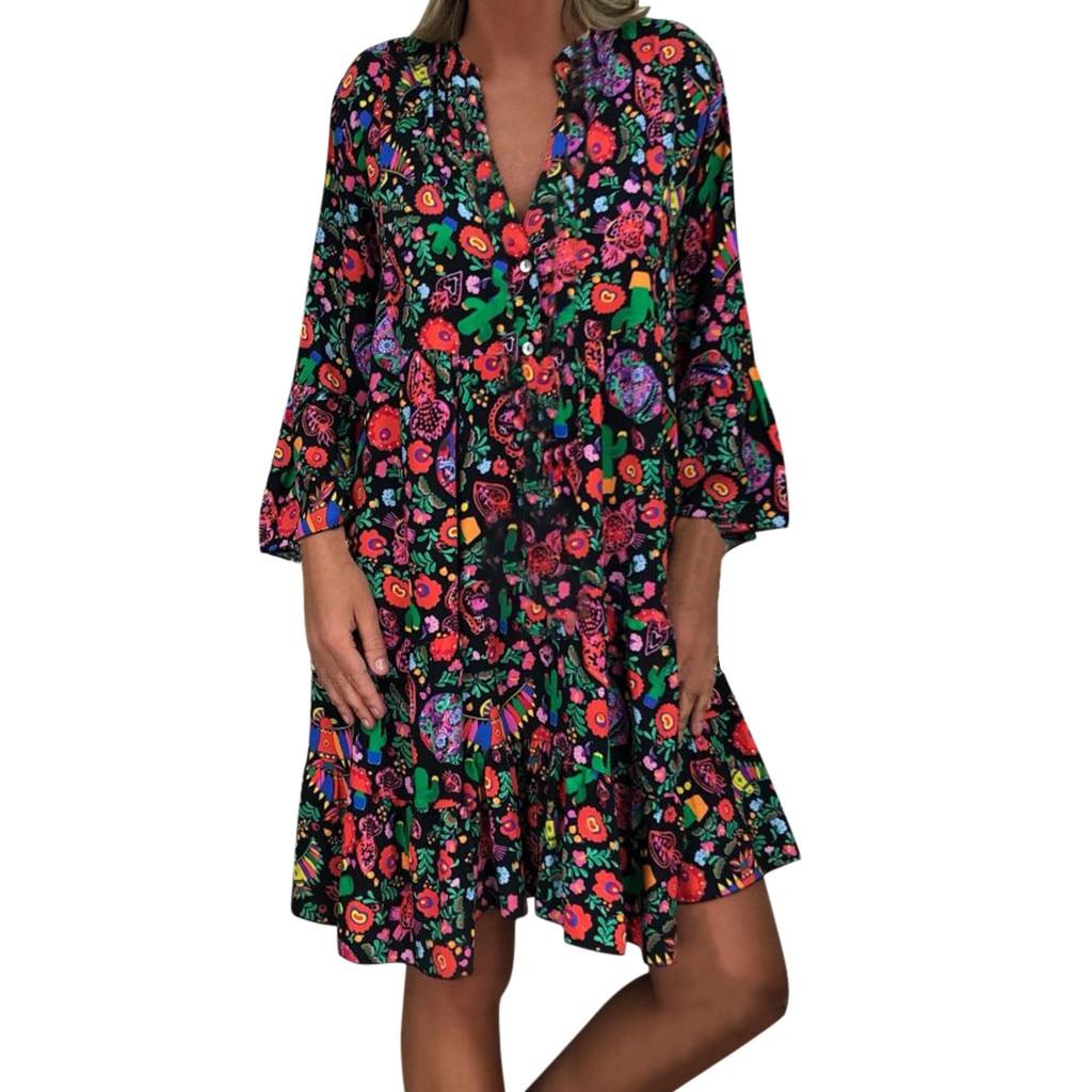 H6634c16df4a34384a119eab1c29e666c8 Spring Autumn Women Dress Plus Size 5XL Loose Print Long Sleeve V-Collar Button Party Dresses Casual Loose Women Dresses 2019
