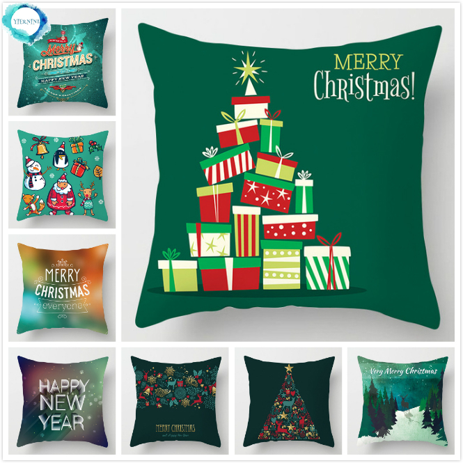Christmas Decorative Pillowcase Polyester Green Santa Claus Elk Throw Pillow Case Cover Pillowcase Merry Christmas Gift