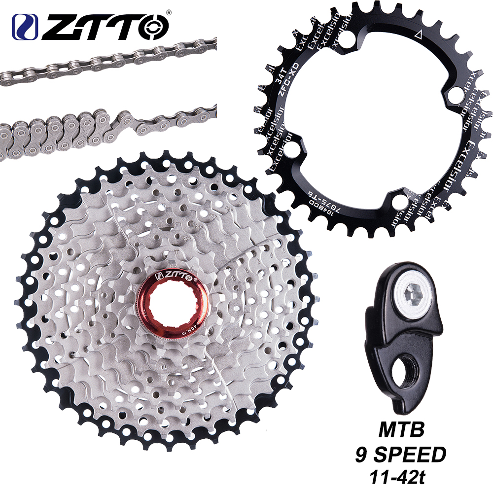 ZTTO MTB 9 Speed 11-42T Cassette 9 s 27s Freewheel Mountain Bike Bicycle Parts 9V Cassette WIDE RATIO Compatible for M430 M4000(China)
