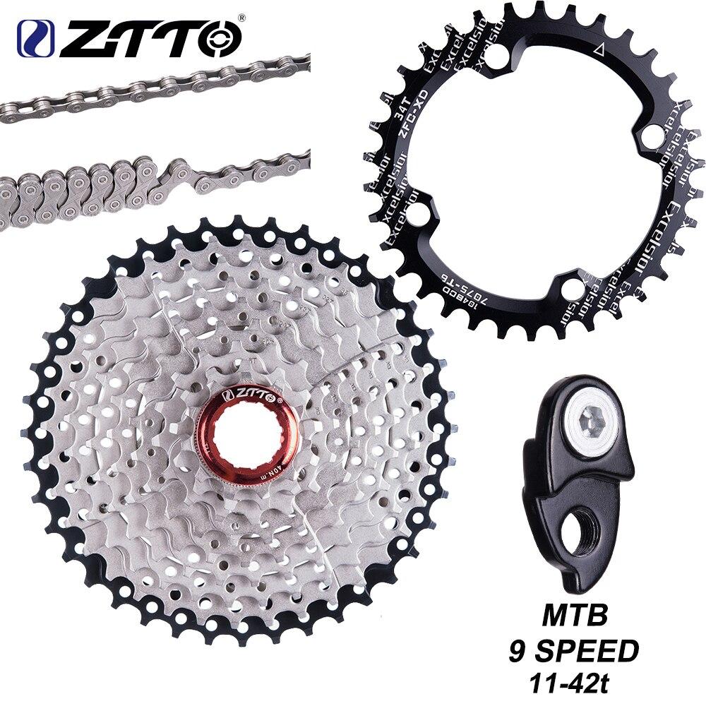 Кассета ZTTO MTB 9 скоростей 11-42T 9 s 27s, свободное колесо, запчасти для горного велосипеда 9 S 42T, кассета 9 В k7, ток для M430 M4000