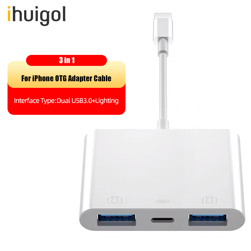 ihuigol USB to Lighting OTG Digital Adapter With MIDI Mouse Keyboard Camera Chargers Converter For iPhone 11 XS Pro 8 7 For iPad