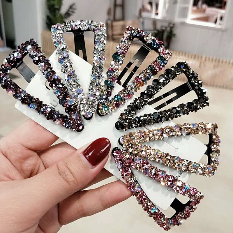 Fashion Girl Hair Claw Geometric Imitation Pearl Hairpin Crab Diamonds Heart Shape Crystal Hair Clips Hair Accessories For Women