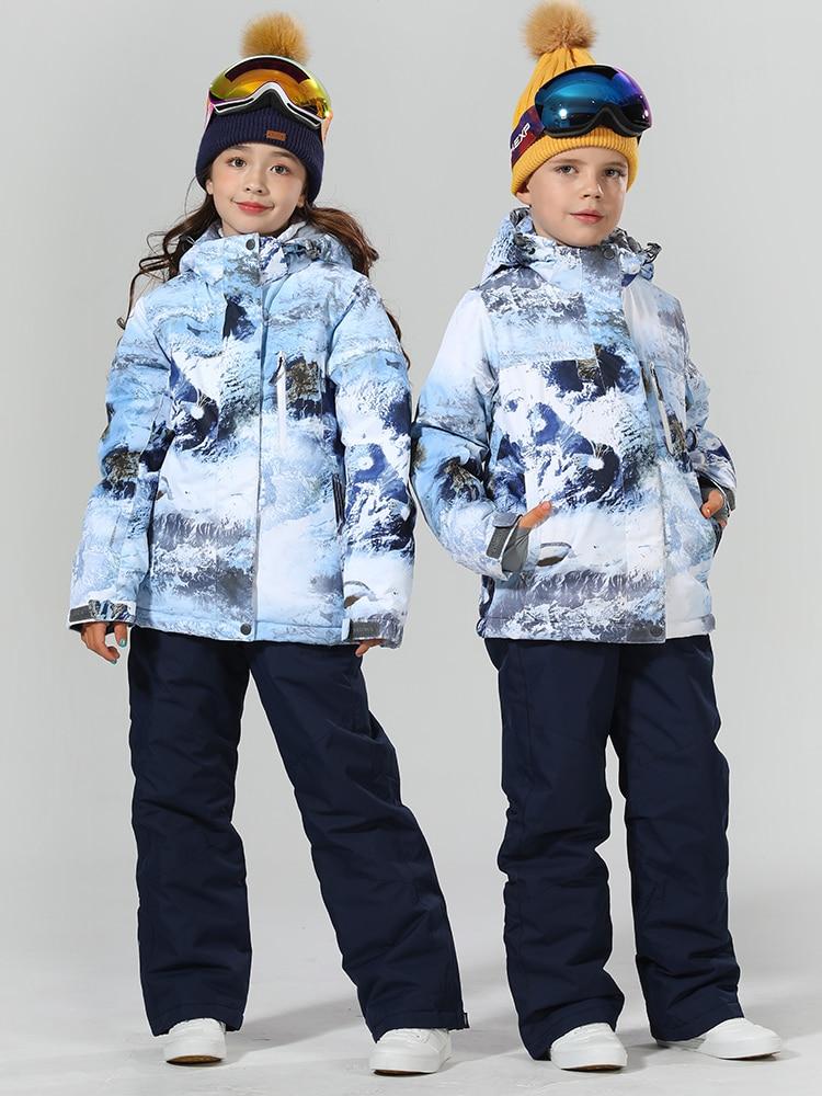 2019 Ski Suit Kids Thicken Winter Suit Children Snowboard Suit Children Ski Suit For Girls Ski Jacket Snowboard Snow Suit Warm