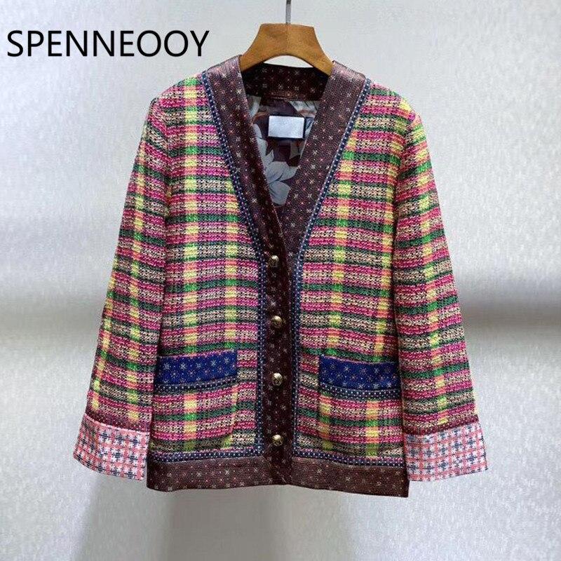 SPENNEOOY/дизайнерское пальто Кардиган с длинным рукавом, v образным вырезом, винтажная подкладка, весна лето 2020